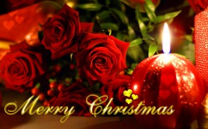 Christmas-Candle-and-Rose