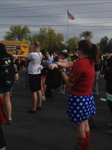Even Wonder Woman was warming up for the Walk/Run for YA Cancer!